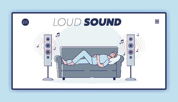 Man luistert muziek luid. mannen genieten van een hoog volume geluid