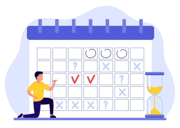Man maakt planning plan vult kalender man heeft plannen markeert datums deadlines