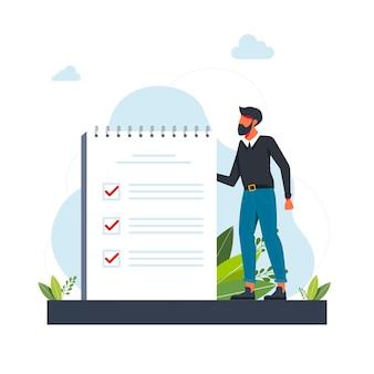 Man, manager die taken prioriteert in takenlijst. man die aantekeningen maakt, zijn werk plant, belangrijke punten onderstreept. vectorillustratie voor agenda, checklist, management, efficiëntieconcept
