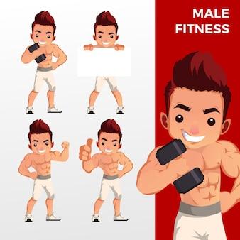 Man mannelijke fitness mascotte tekenset logo pictogram illustratie