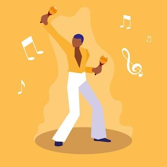 Man maracas muzikant karakter spelen