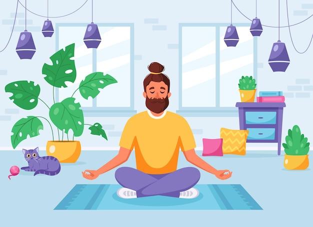 Man mediteert in lotushouding in een gezellig modern interieur gezonde levensstijl thuisactiviteit