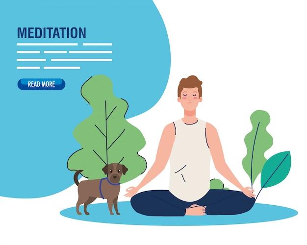 Man mediteren, concept voor yoga, meditatie, ontspannen, gezonde levensstijl in landschap, met hond mascotte