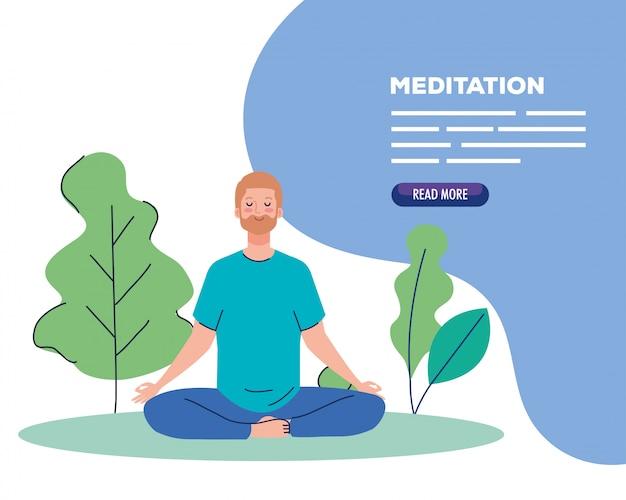 Man mediteren, concept voor yoga, meditatie, ontspannen, gezonde levensstijl in landschap