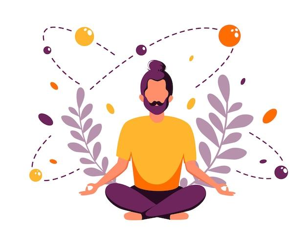 Man mediteren in lotus houding