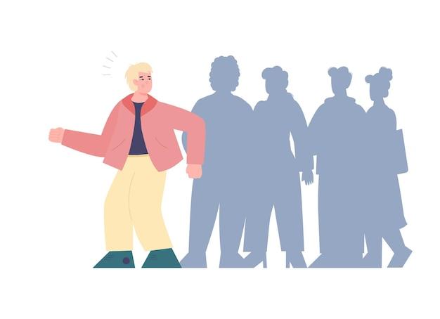 Man met angst voor menigte of asocialiteit sociopathie cartoon vectorillustratie