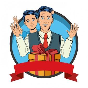 Man met avatars van de jongen en cadeau