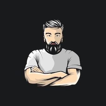 Man met baard illustratie