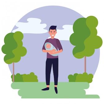 Man met baby ronde pictogram
