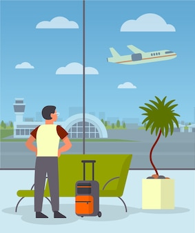Man met bagagge in de wachtkamer van de luchthaven. idee van reizen