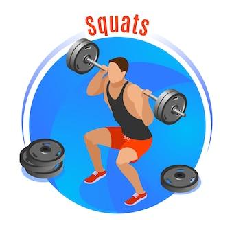 Man met barbell op schouders tijdens squats op blauwe ronde achtergrond isometrische vectorillustratie