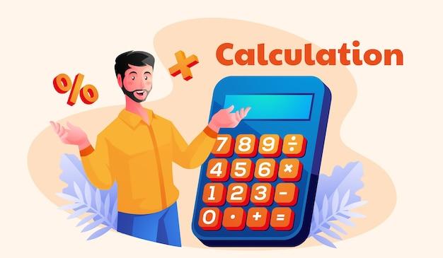 Man met behulp van een rekenmachine berekening wiskunde accountant concept
