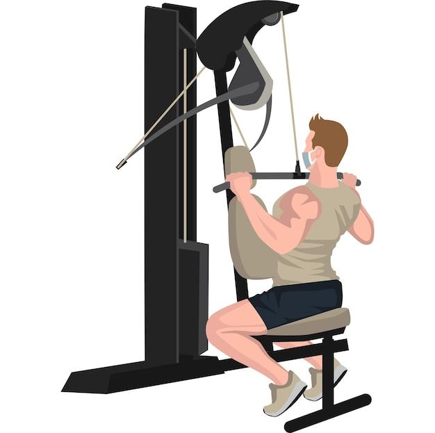Man met behulp van fitnessapparatuur voor het opbouwen van zijn borst- en armspieren