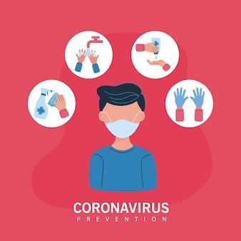 Man met behulp van medisch masker en iconen van covid19-preventie