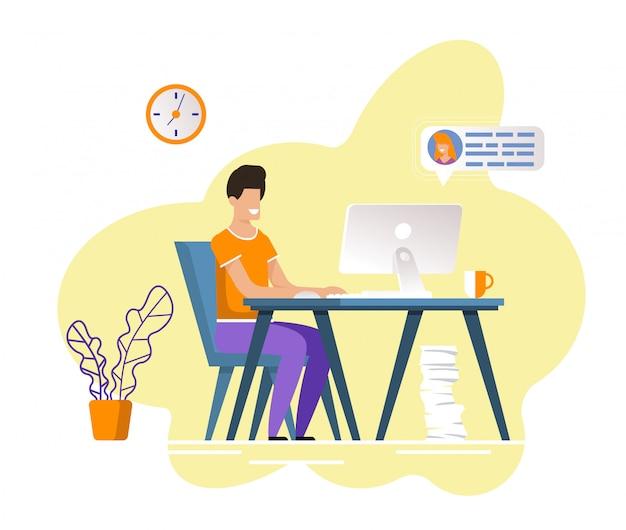 Man met behulp van online dating service-app op de computer