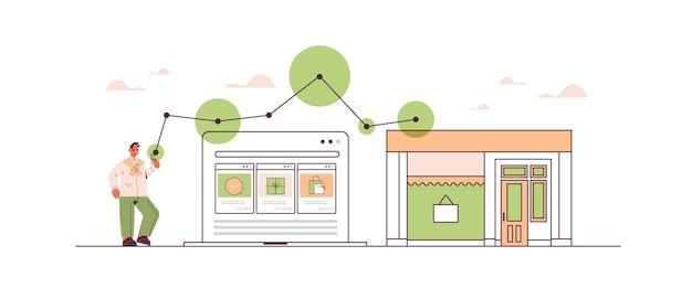Man met behulp van smartphone-applicatie voor online winkelen bestellen en betalen van e-commerce slimme aankopen