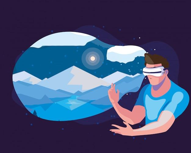 Man met behulp van technologie van augmented reality