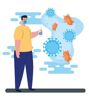Man met beschermend chirurgisch masker voor preventie met desinfecterende spray