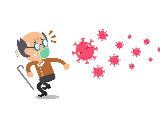 Man met beschermend gezichtsmasker bezorgd over het virus