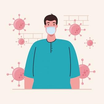Man met beschermende medische masker tegen covid-19, met cellen van coronavirus in de omgeving
