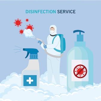 Man met beschermende pak spuiten virus en ontsmettingsmiddel flessen