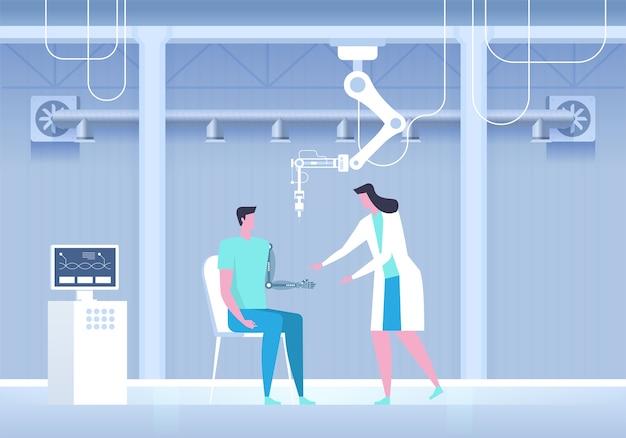 Man met bionische arm. kunstmatige hand. wetenschappelijk laboratorium. toekomstige geneeskunde. illustratie