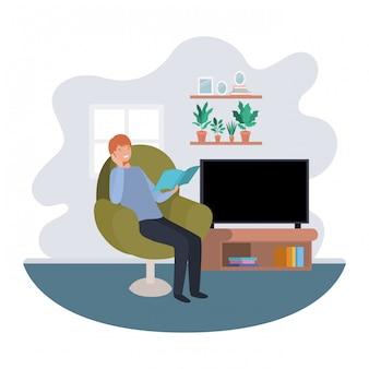 Man met boek in woonkamer avatar karakter