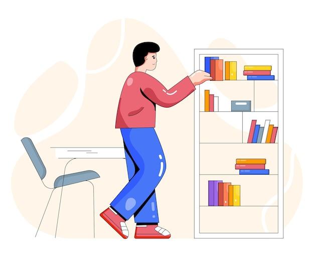 Man met boekenrek vlakke afbeelding
