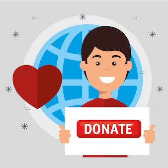 Man met bord voor liefdadigheidsschenking