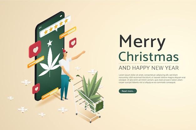 Man met cannabisblad in winkelwagen gelukkig online winkelen op smartphone kerstdag vakantie
