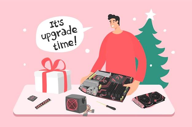 Man met computercomponenten en uitdrukking zijn upgradetijd vakantie kerstmis en nieuwjaarsverkoop