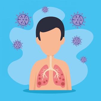 Man met covid 19 ziekte-micro-organismen
