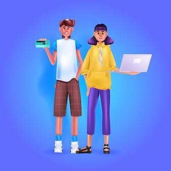 Man met creditcard vrouw met behulp van laptop online winkelconcept volledige lengte
