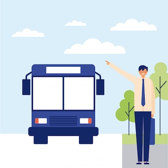 Man met de bus naar het werk