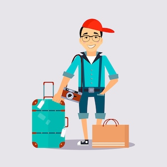 Man met de kleurrijke bagage reiziger