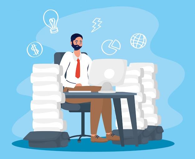 Man met desktop met stress karakter