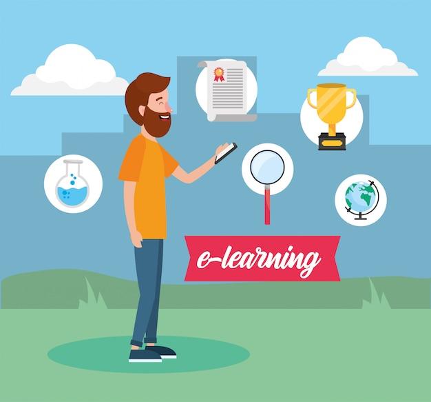 Man met digitale kennis om certificaat te studeren