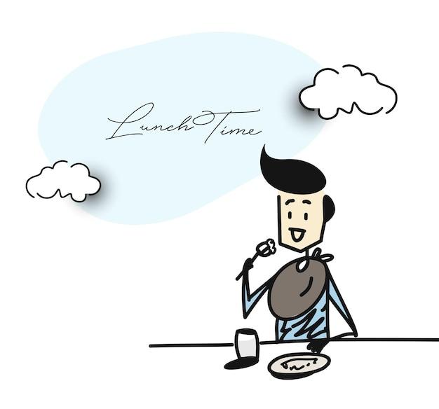 Man met diner in een restaurant - office, cartoon hand getrokken schets vectorillustratie.