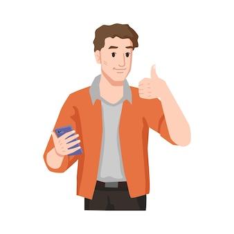 Man met duim omhoog houdt van smartphone geïsoleerde mannelijke persoon in casual doek met goedkeuringsgebaar om