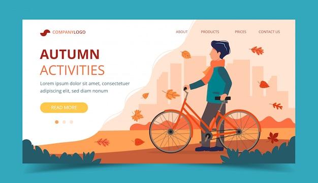 Man met een fiets in de herfst. landingspagina sjabloon.