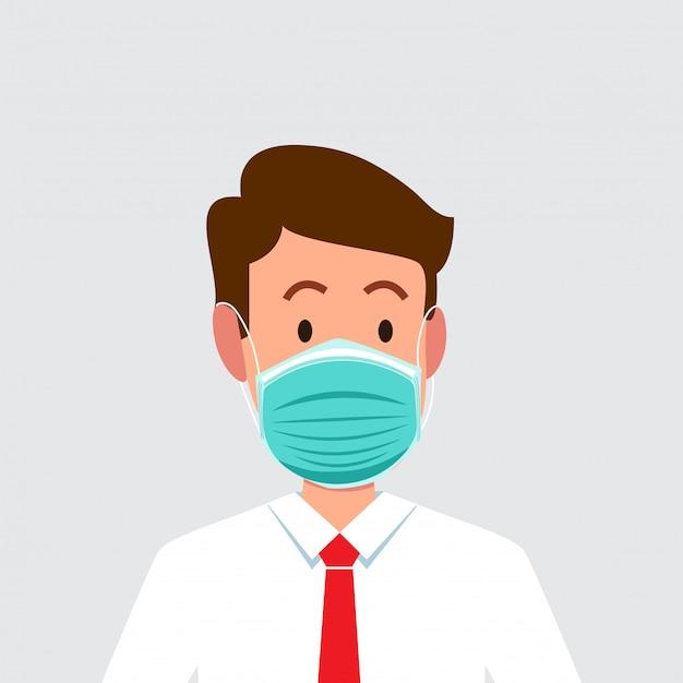 Man met een gezichtsmasker om de ademhaling van het virus te beschermen.