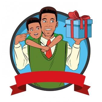 Man met een jongen met een geschenkdoos