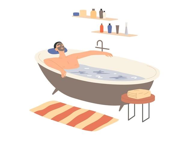 Man met een kleimasker op zijn gezicht neemt een bad.
