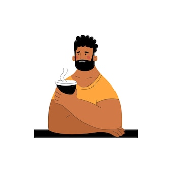 Man met een kopje koffie in een café in de hand getekende stijl