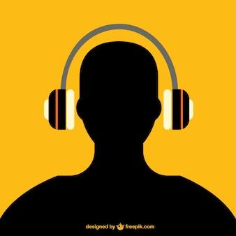 Man met een koptelefoon silhouet
