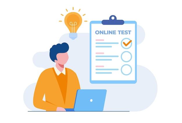 Man met een laptop die online test doorstaat en antwoorden controleert. platte vectorillustratie