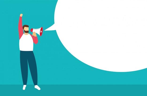 Man met een megafoon in de hand met lege bubbels toespraak. voor aankondiging of belangrijke informatie.