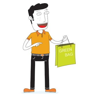 Man met een milieuvriendelijke plastic zak