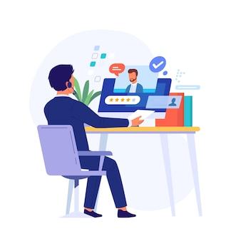 Man met een online sollicitatiegesprek
