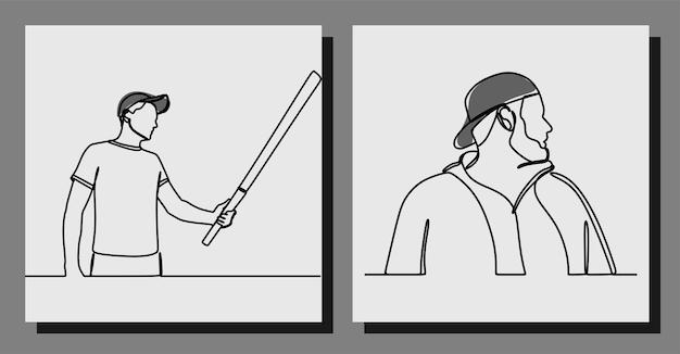 Man met een pet oneline art continue lijn premium vector